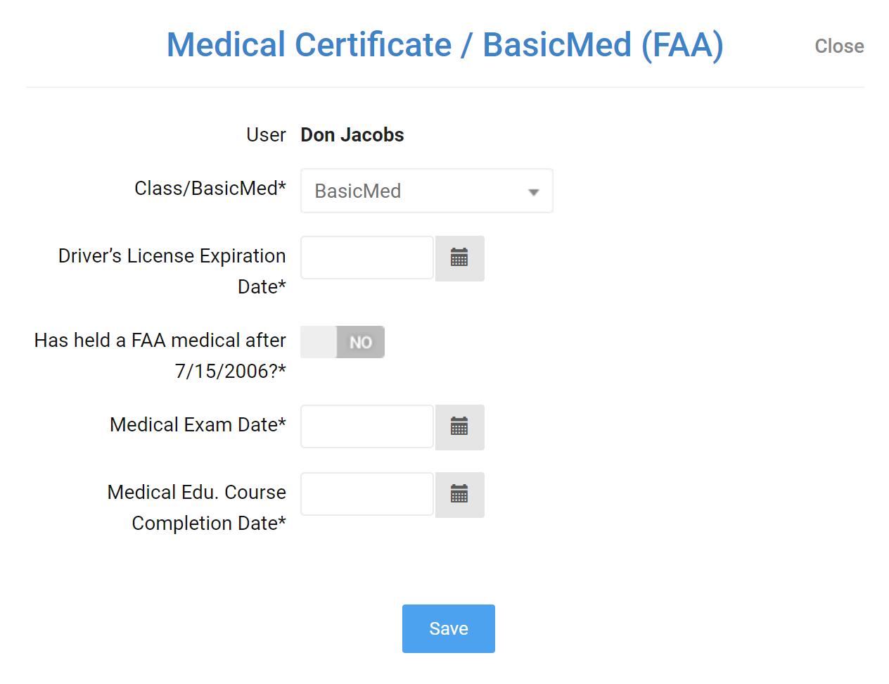 Screenshot of BasicMed user information